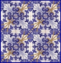 Portuguese Tiles Maia   Repetitive Patterns   Traditional Hand Painted W... - $79.20