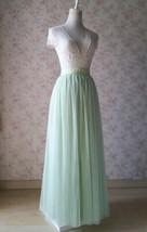 Floor Length Full Tulle Skirt Bridesmaid Long Tulle Skirt Back-bow Pastel Green  image 7
