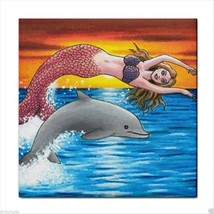 Ceramic Tile Coaster, art painting Mermaid 5 dolphin - $17.99