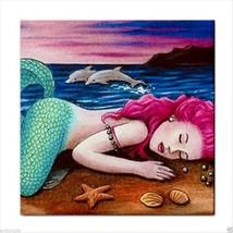 Tile Coaster Mermaid 12 dolphin from original Art - $16.99