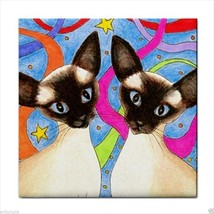 Tile Coaster from original art painting Cat 480 Siamese - $17.99