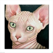 Tile Coaster from original art painting Cat 412 Sphynx - $17.99