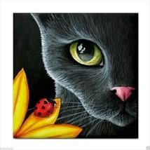 Ceramic Tile Coaster from art painting Cat 510 ladybug - £13.40 GBP