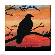 Ceramic Tile Coaster from painting Bird 46 crow raven - $17.99