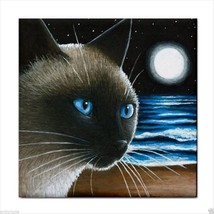 Ceramic Tile Coaster from art painting Cat 396 siamese - $17.99