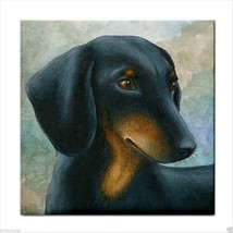 Ceramic Tile Coaster from art painting Dog 90 Dachshund - $17.99