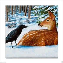Tile Coaster from original art painting Crow Deer Fawn - $17.99