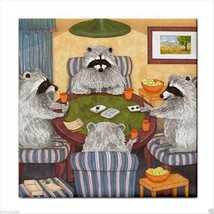 Tile Coaster from art painting Raccoon 16 playing cards - $17.99