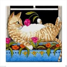 Ceramic Tile Coaster from original art painting Cat 451 - £13.40 GBP