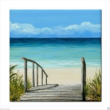 Tile Coaster from original painting art Sea View 147 - $17.99