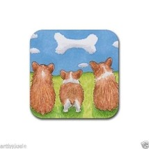 Rubber Coasters set of 4, from art painting Dog 64 corgi by L.Dumas - $13.99