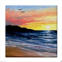 Tile Coaster from original painting art Sea View 241 sunset ocean - $17.99