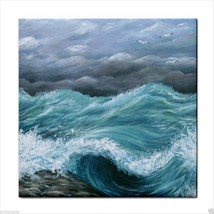 Ceramic Tile Coaster from art painting Sea View 244 ocean waves - $17.99