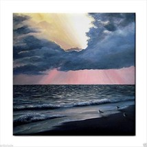 Tile Coaster from original painting art Sea View 246 sunset ocean - $17.99