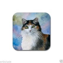 Rubber Coasters set of 4 Cat 572 Calico from art painting by L.Dumas - $13.99