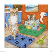 Tile Coaster from original funny art Cat 538 bathroom - $17.99