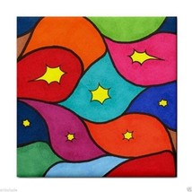 Ceramic Tile Coaster from art painting Abstract 3 colorful - $17.99