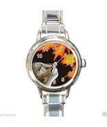 Round Italian Charm Watch from art painting Cat 442 fall autumn maple leaf - $15.99