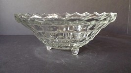 Vintage Crystal Serving Bowl Diamond Cut Starburst Salad Bowl - $12.86