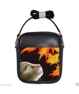 Small Sling Bag Purse from art painting Cat 442 fall autumn maple leaf L.Dumas - $22.99