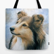Tote Bag All over print Made in USA Dog 122 Collie from art painting by ... - $29.99+