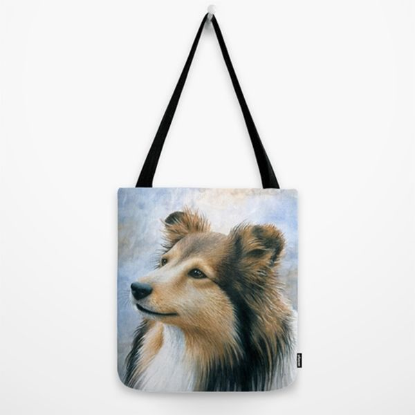 Tote Bag All over print Made in USA Dog 122 Collie from art painting by L.Dumas