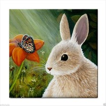 Tile Coaster Hare 55 rabbit butterfly from art painting by L.Dumas - $17.99