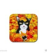 Rubber Coasters set of 4, from art painting Cat 447 Tuxedo Fall Autumn L... - €11,83 EUR