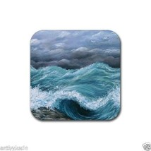Rubber Coasters set of 4, from art painting Sea View 244 ocean waves L.D... - $13.99