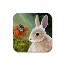 Rubber Coasters set of 4, Hare 55 Rabbit Butterfly from art painting by ... - $13.99