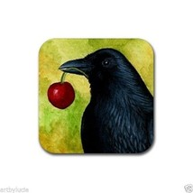 Rubber Coasters set of 4, from art painting Bird 55 crow raven by L.Dumas - $13.99