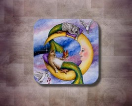 Rubber Coasters set of 4, Cat Mermaid 29 Moon from art painting by L.Dumas - $13.99