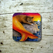 Rubber Coasters set of 4, Cat Mermaid 30 Sunset from art painting by L.D... - $13.99