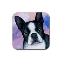 Rubber Coasters set of 4, Dog 128 Boston Terrier art painting by L.Dumas - $13.99