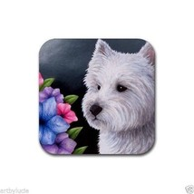 Rubber Coasters set of 4, art painting Dog 82 Westie West Highland White... - $12.99