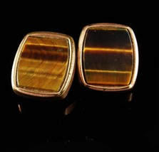 1880s Victorian Tigereye Cufflinks Antique gold rose gold plate Sleeve Accessory - $125.00