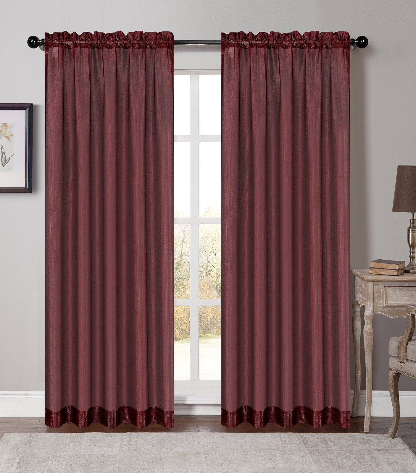 Urbanest 54-inch by 84-inch Set of 2 Soho Sheer Drapery Curtain Panel, Bordeaux