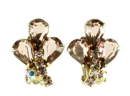 VINTAGE JULIANA PALE PURPLE RHINESTONE & AB CRYSTAL CLIP BACK EARRINGS N... - $89.99