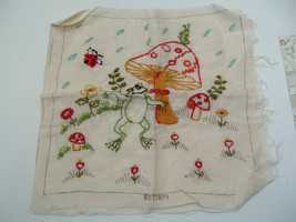 vintage bucilla happy frog pillow crewel embrioidery pillow kit partial done - $16.13