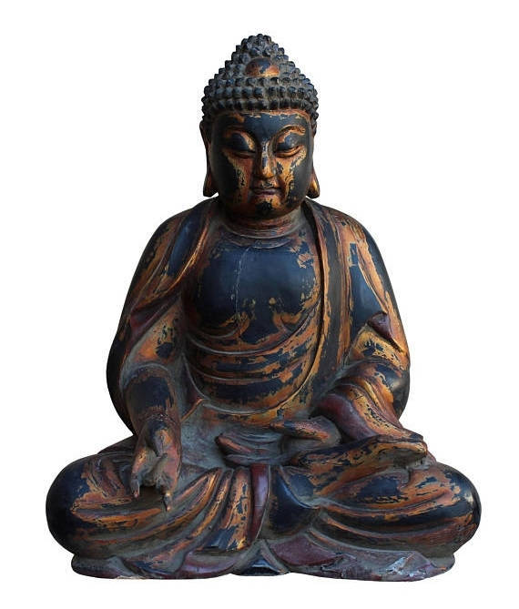 Primary image for Chinese Golden Brown Wooden Meditation Sitting Buddha Statue cs3123E