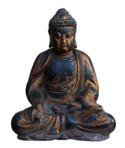 Chinese Golden Brown Wooden Meditation Sitting Buddha Statue cs3123E - $2,100.00