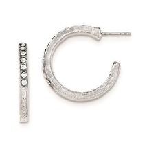 Ladies Silver Tone In/Out White Crystal Hoop Ea... - $29.14