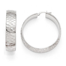 Bronze Diego Massimo Etched Rhodium Plated Hinged Fancy Hoop Earrings - $68.08