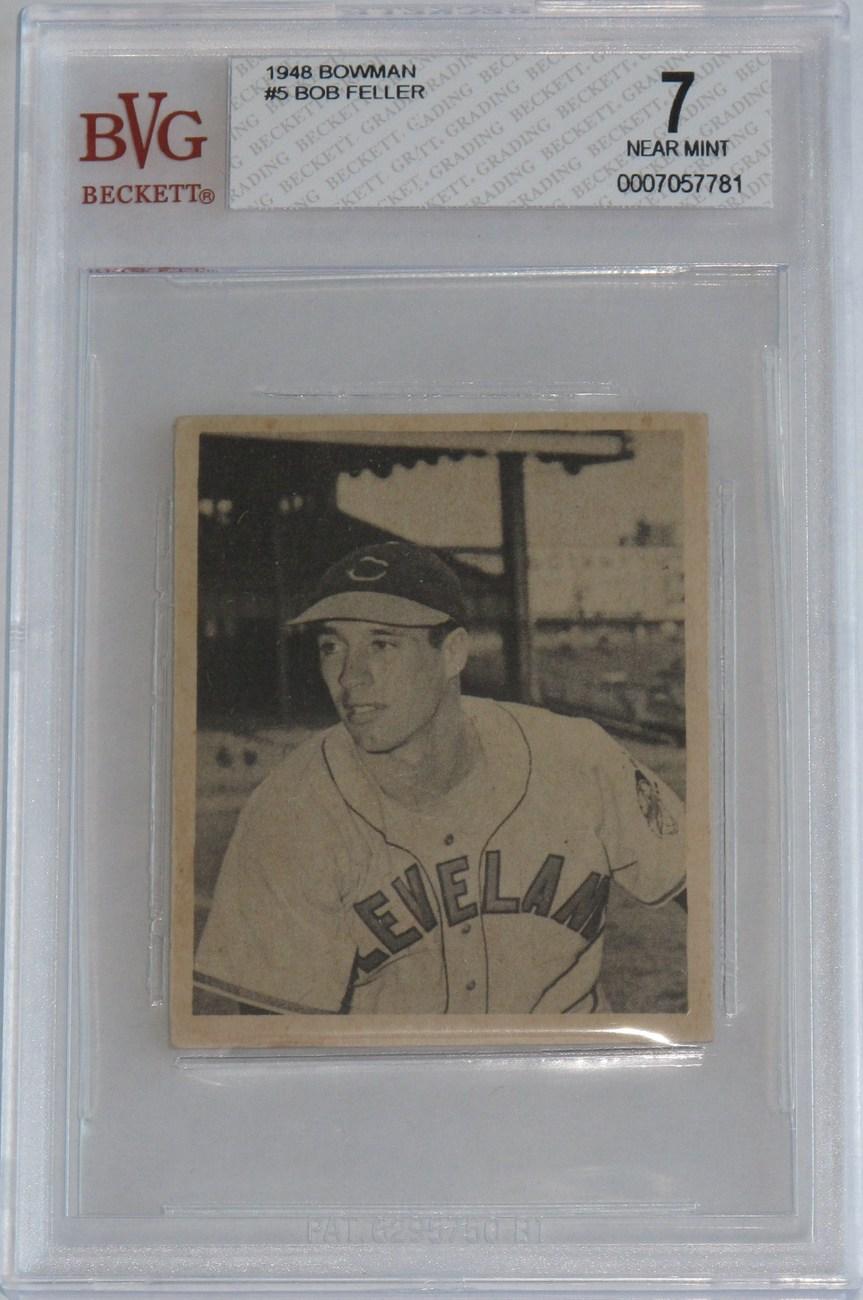 Bob feller 1948 bowman  5 bvg 7 nm