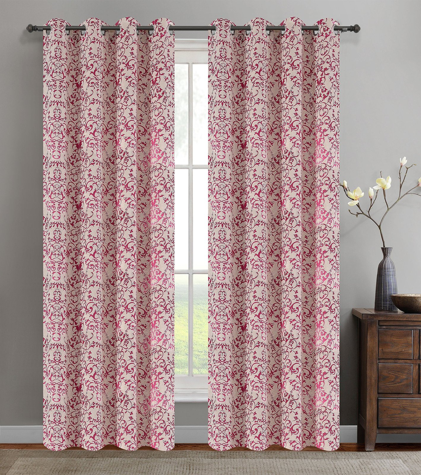 Urbanest 50-inch by 84-inch Set of 2 Jacquard Vine Drapery Curtain Panel with Gr