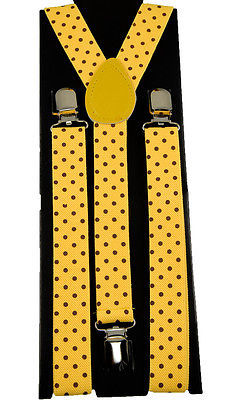 "Unisex Clip-on Braces Elastic Yellow ""Polka Dot"" Y-back Suspender"
