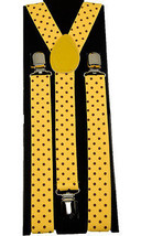 "Unisex Clip-on Braces Elastic Yellow ""Polka Dot"" Y-back Suspender - $6.92"