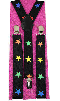 "Primary image for Unisex Clip-on Braces Elastic New ""Rainbow Star"" Suspender Y-Back Suspender"