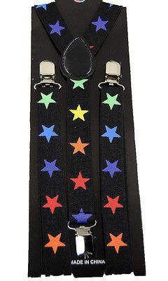 "Unisex Clip-on Braces Elastic ""Rainbow Star"" Suspender Y-Back Suspender"