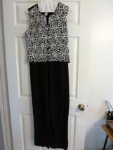 JUMPSUIT Black White by NEWPORT NEWS Linen/Rayon Sz 8 Sleeveless EUC - $25.99